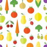 Fondo inconsútil con las frutas y verduras Fotografía de archivo
