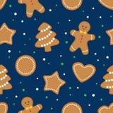 Fondo inconsútil con las galletas de la Navidad del pan de jengibre stock de ilustración