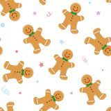 Fondo inconsútil con las galletas de la Navidad Galletas de la Navidad Ilustración del vector Imagen de archivo