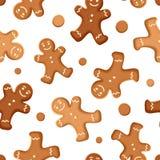 Fondo inconsútil con las galletas de los hombres de pan de jengibre Ilustración del vector Imágenes de archivo libres de regalías