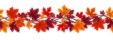Fondo inconsútil con las hojas de arce del otoño stock de ilustración