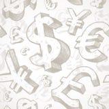 Fondo inconsútil con las muestras de dinero en circulación Foto de archivo libre de regalías