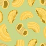 Fondo inconsútil con las pastas de los macarrones del codo en diseño plano Fotografía de archivo libre de regalías