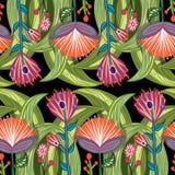 Fondo inconsútil con las plantas y las flores del cuento de hadas Mano dracma Imagen de archivo