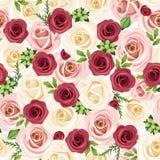 Fondo inconsútil con las rosas rojas, rosadas y blancas. Ejemplo del vector. Fotografía de archivo