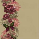Fondo inconsútil con las rosas y las mariposas de la cinta Vector IL stock de ilustración