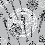 Fondo inconsútil con las varas mágicas y símbolo misterioso del dragón ilustración del vector