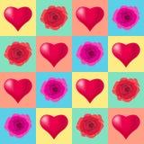Fondo inconsútil con los corazones, ejemplo colorido del modelo Tipografía de los días de fiesta de día de San Valentín stock de ilustración