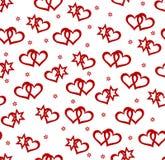 Fondo inconsútil con los corazones y los elementos de la estrella stock de ilustración