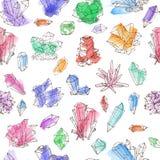 Fondo inconsútil con los cristales coloreados del garabato en el fondo blanco libre illustration