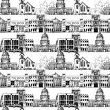 Fondo inconsútil con los edificios del gobierno Imágenes de archivo libres de regalías