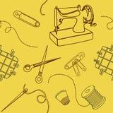 Fondo inconsútil con los elementos de costura Imagen de archivo libre de regalías
