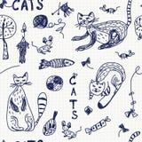Fondo inconsútil con los gatos del doodle Foto de archivo libre de regalías