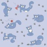 Fondo inconsútil con los gatos juguetones Libre Illustration