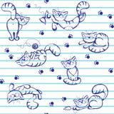 Fondo inconsútil con los gatos juguetones Ilustración del Vector