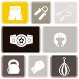 Fondo inconsútil con los iconos del boxeo Foto de archivo libre de regalías