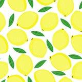 Fondo inconsútil con los limones y las hojas amarillos del verde Imagen de archivo libre de regalías