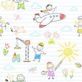 Fondo inconsútil con los niños felices en desgaste del trabajo ilustración del vector