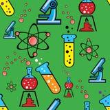 Fondo inconsútil con los objetos de la química Imagen de archivo libre de regalías
