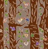 Fondo inconsútil con los pájaros y el árbol divertidos Foto de archivo libre de regalías