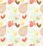 Fondo inconsútil con los pájaros y las flores divertidos Imagen de archivo libre de regalías