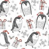 Fondo inconsútil con los pingüinos holidays stock de ilustración