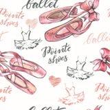Fondo inconsútil con los zapatos dibujados mano de los pointes del ballet Imagenes de archivo