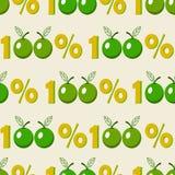Fondo inconsútil con símbolo verde de la manzana del ciento por ciento stock de ilustración