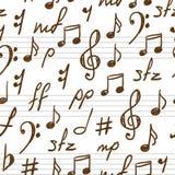 Fondo inconsútil con símbolos de música. Foto de archivo libre de regalías