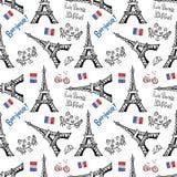 Fondo inconsútil con símbolos de París stock de ilustración
