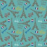 Fondo inconsútil con símbolos de París ilustración del vector