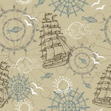 Fondo inconsútil con símbolos marinos Fotos de archivo