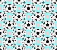 Fondo inconsútil con un balón de fútbol y estrellas five-ponted en colores translúcidos stock de ilustración