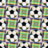 Fondo inconsútil con un balón de fútbol y estrellas five-ponted en colores translúcidos ilustración del vector