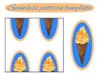 Fondo inconsútil: cono de helado en blanco Modelo del vector Helado con crema anaranjada en azul libre illustration
