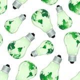 Fondo inconsútil de bulbos eléctricos con las correspondencias stock de ilustración