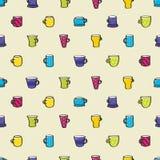 Fondo inconsútil de consumición de las tazas Foto de archivo