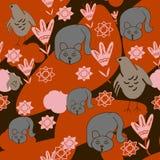 Fondo inconsútil de gatos, pollo, flores, nubes anaranjadas ilustración del vector