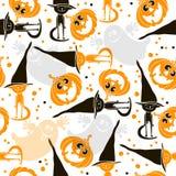 Fondo inconsútil de Halloween con los fantasmas, las calabazas y ki lindo stock de ilustración