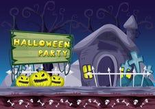 Fondo inconsútil de Halloween del vector de la historieta con capas separadas Foto de archivo libre de regalías
