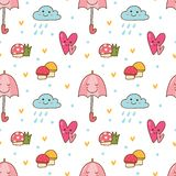 Fondo inconsútil de Kawaii con la nube de la seta, del paraguas y de lluvia stock de ilustración