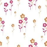 Fondo inconsútil de la acuarela que consiste en las flores y los pétalos rosados Imágenes de archivo libres de regalías