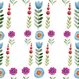 Fondo inconsútil de la acuarela que consiste en las flores y los pétalos rosados Foto de archivo