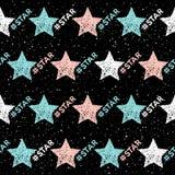 Fondo inconsútil de la estrella del garabato Modelo de estrella infantil abstracto stock de ilustración