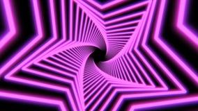 Fondo inconsútil de la estrella del vuelo púrpura abstracto hermoso de la forma Concepto futurista del túnel del lazo en 4k