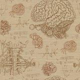Fondo inconsútil de la fantasía con el cerebro, la garganta y los mecanismos ilustración del vector