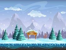 Fondo inconsútil de la historieta con la muestra y el esquí del paisaje del invierno libre illustration