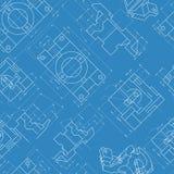 Fondo inconsútil de la ingeniería Vector de los dibujos de piezas Imágenes de archivo libres de regalías