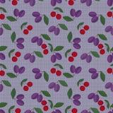 Fondo inconsútil de la lila del modelo de las frutas retras de los colores Foto de archivo