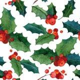 Fondo inconsútil de la Navidad de la acuarela Imagenes de archivo
